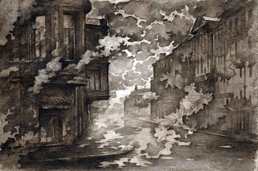 Dream 1. Сны о чем-то..., бумага, тушь, акварель, 2012