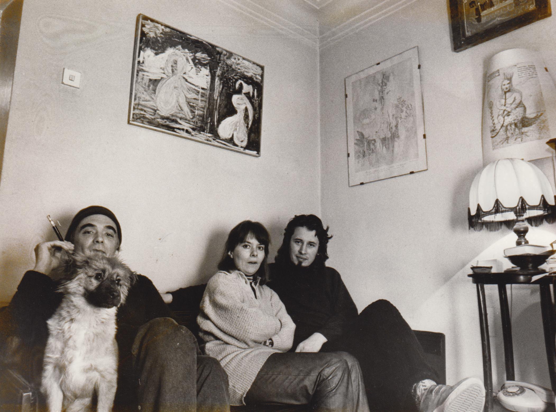 Андрей Монастырский, Татьяна Щербина, Владимир Сорокин, собака Зверик, 1987