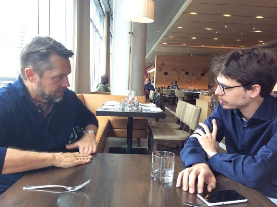 Дирижер Андрей Борейко и пианист Люка Дебарг на ланче, Торонто, апрель 2017