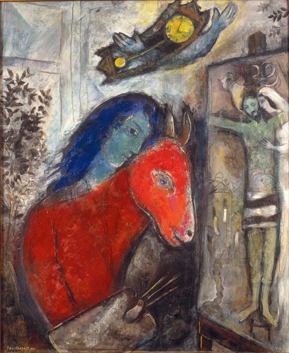 Марк Шагал, Автопортрет с часами, 1947, холст, масло. Частная коллекция.