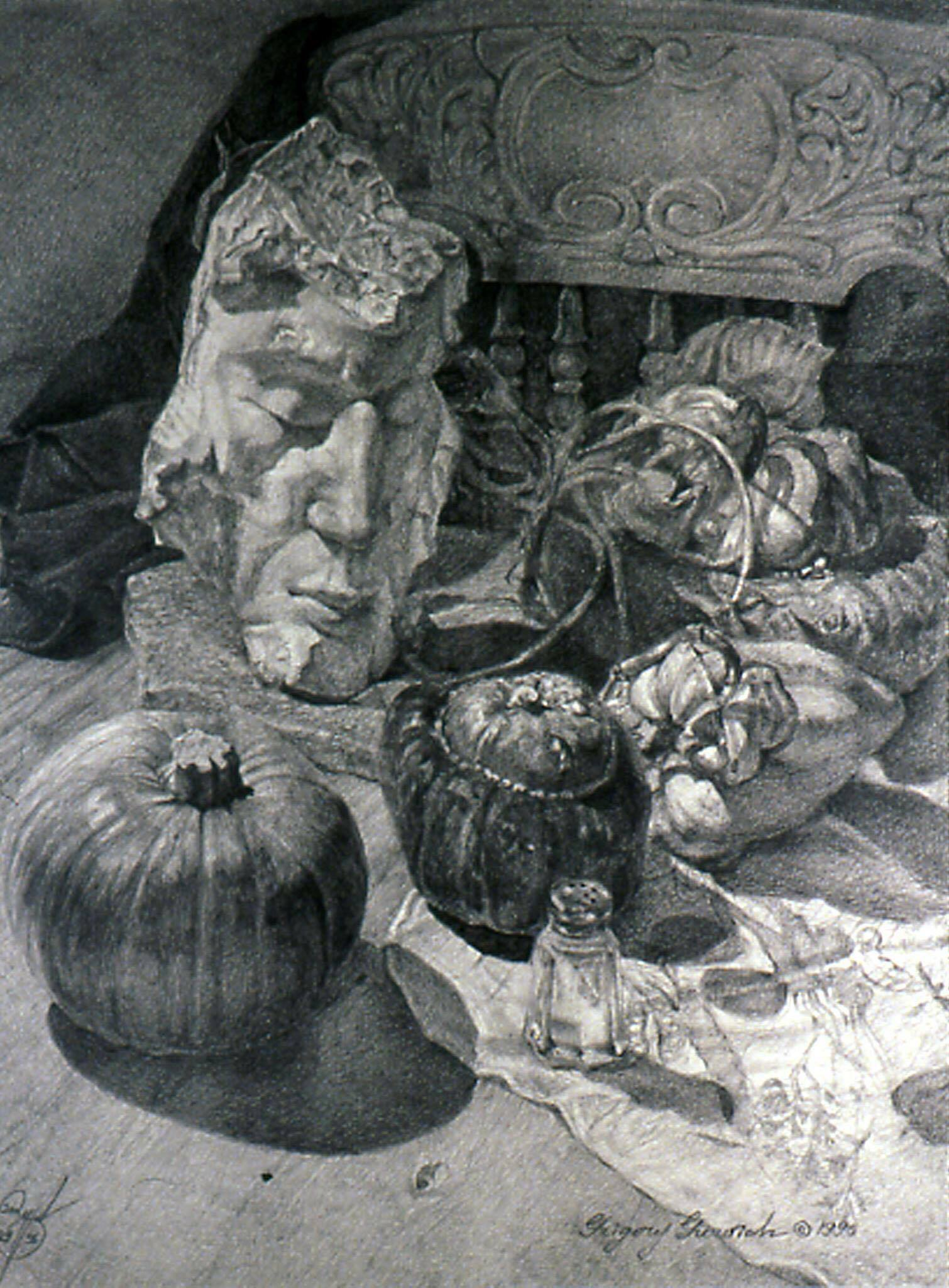 Рисунок карандашом, Медитация над тыквой, Г.Гуревич