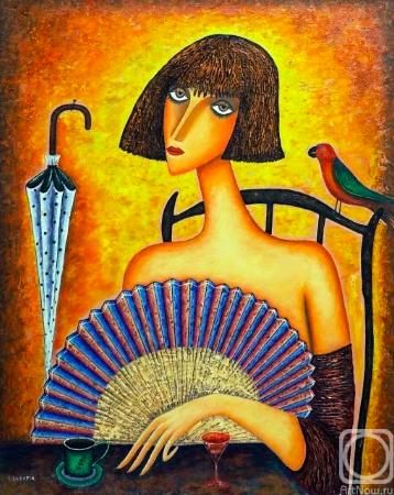 Художник Надараиа Автандил. Женщина с веером