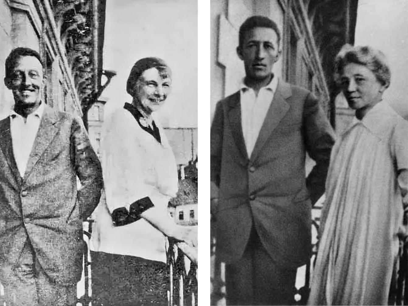 Слева - А. Блок с женой. Справа - А. Блок с матерью. На балконе своего дома в Петрограде, 1919 год